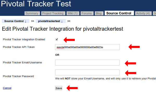 Pivotal Tracker Settings