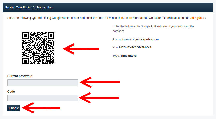 Enable Two Factor Authentication Using QR Code